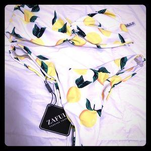 Bandeau lemon swimsuit
